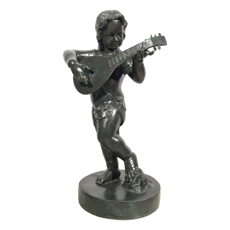 SRB992274 Bronze Boy Playing Guitar Sculpture Metropolitan Galleries Inc.