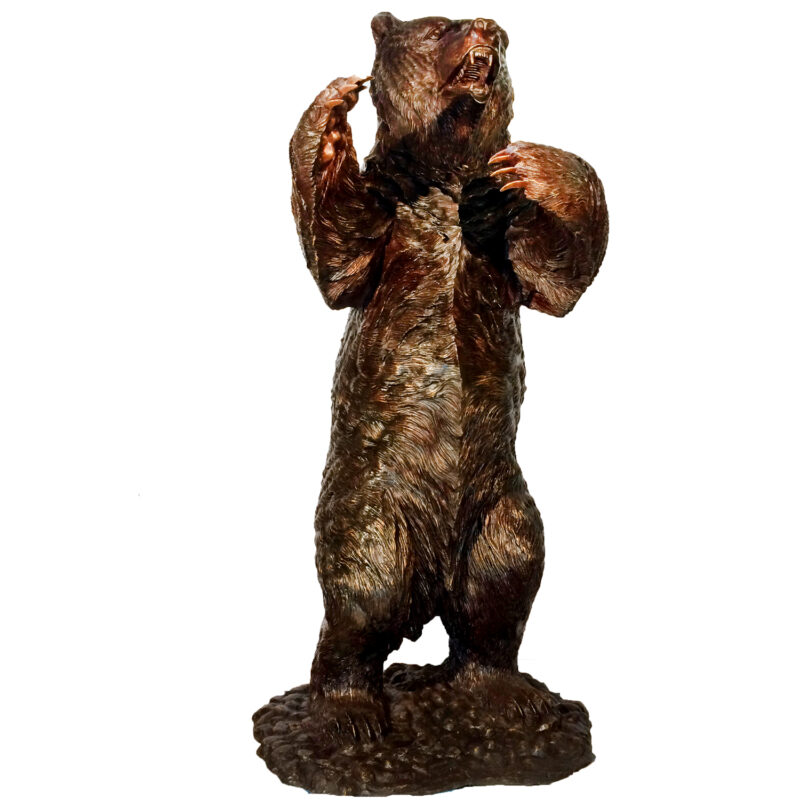 SRB10096 Bronze Standing Grizzly Bear Sculpture Metropolitan Galleries Inc.