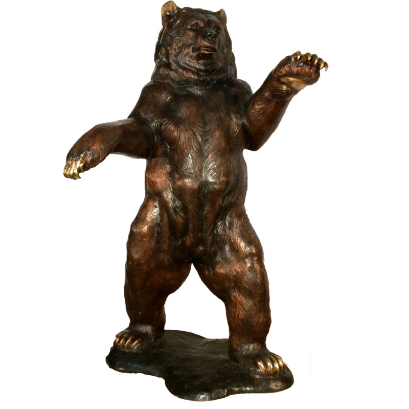 Bronze Standingf Bear Gold Claws Metropolitan Galleries Inc.