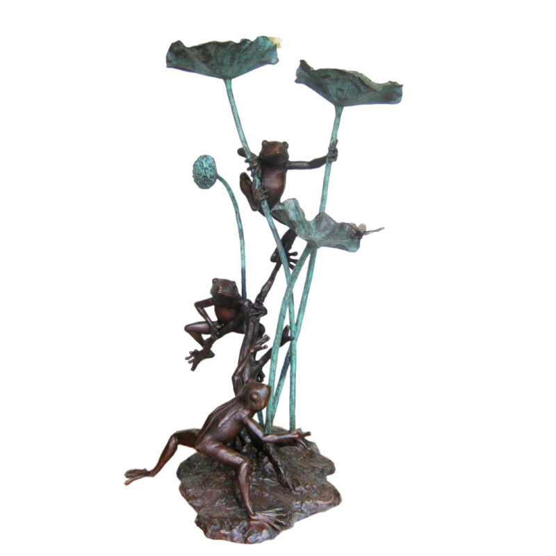 Bronze Three Frogs with Dragonfly Sculpture Metropolitan Galleries Inc.