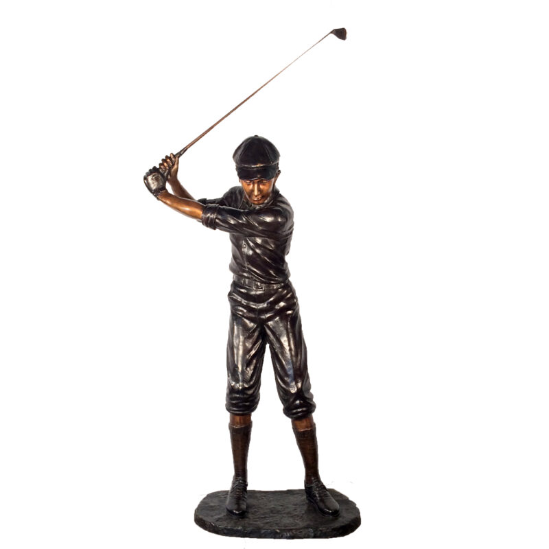 SRB25118 Bronze Male Golfer Sculpture Metropolitan Galleries Inc.