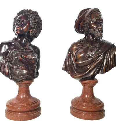 SRB84014-15 Bronze Blackamour Bust Sculpture Set Metropolitan Galleries Inc.