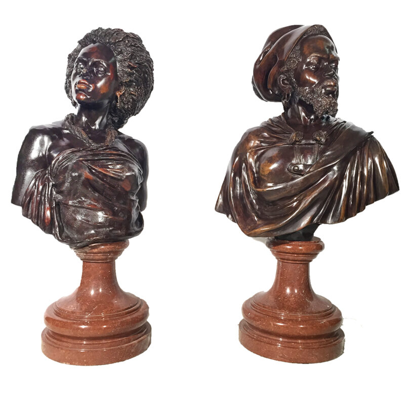SRB84014-15 Bronze Blackamour Bust Sculpture Set Metropolitan Galleries Inc.