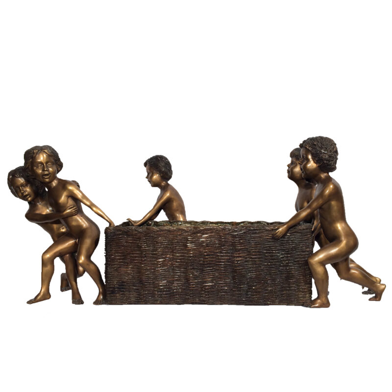 SRB43538 Bronze Children Tugging Basket Urn Metropolitan Galleries Inc.