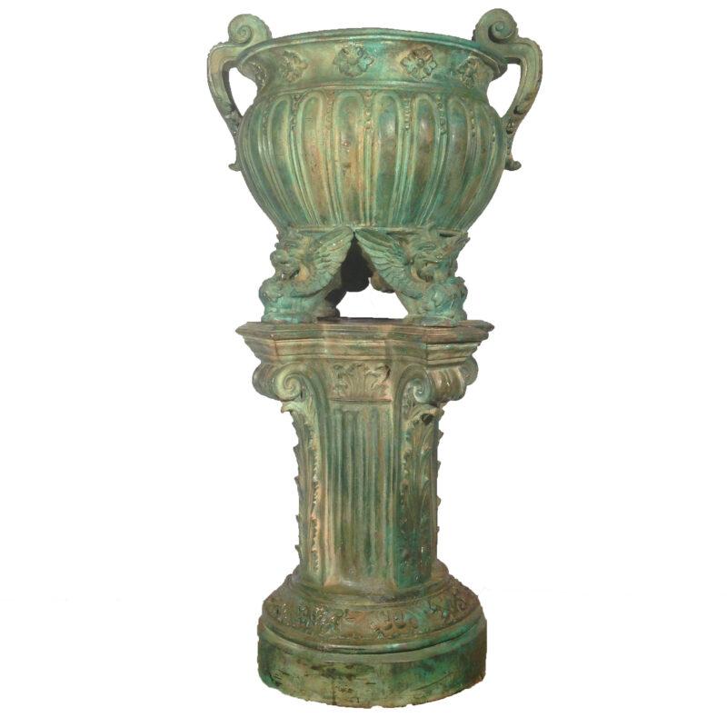 SRB52001 Bronze Classical Urn on Pedestal Metropolitan Galleries Inc.