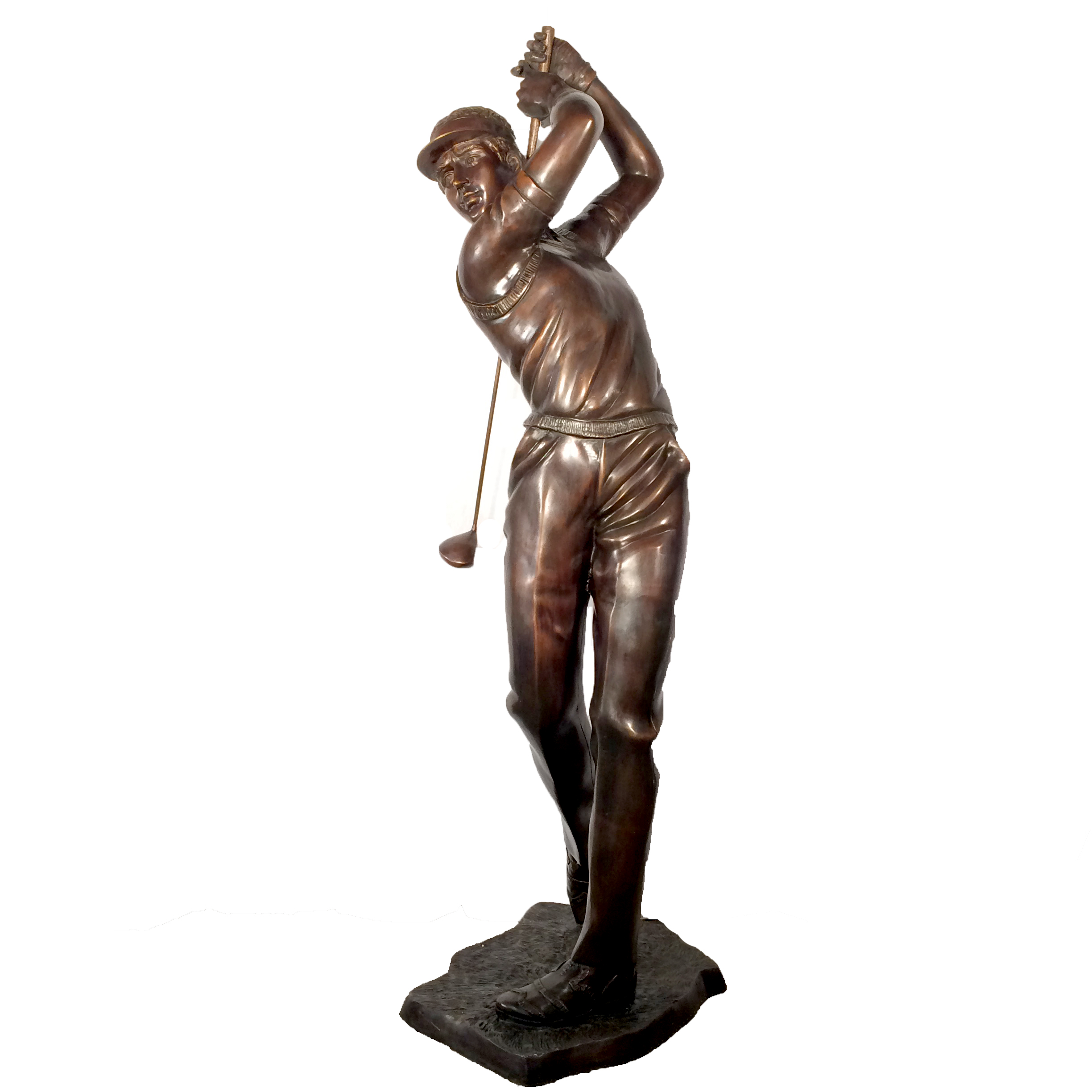 SRB705035 Bronze Golfer Swinging Club Sculpture Metropolitan Galleries Inc.