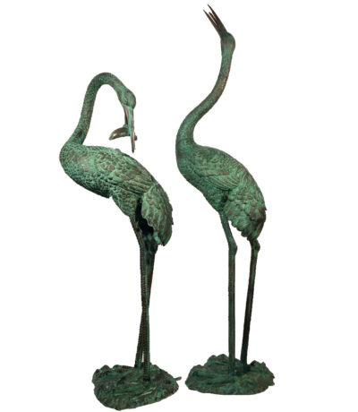 SRB45715 Bronze Crane Fountain Sculpture Pair Metropolitan Galleries Inc.
