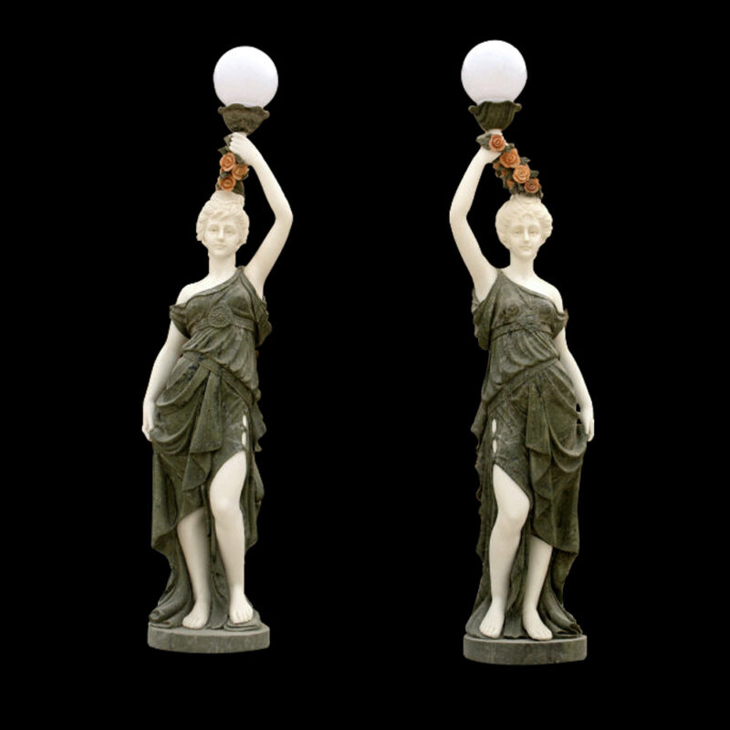 JBL300 Marble Lady holding Light Sculpture Pair by Metropolitan Galleries Inc