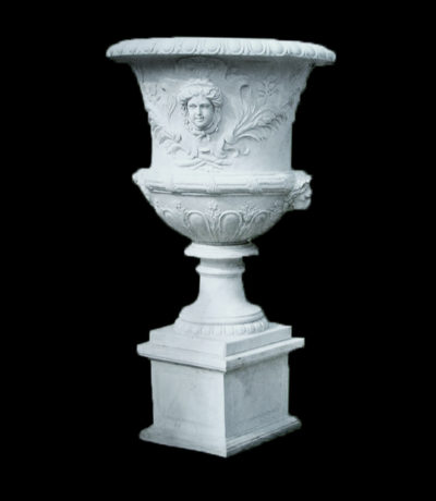 JBU340 Marble Girl Face Urn on Pedestal Metropolitan Galleries Inc.