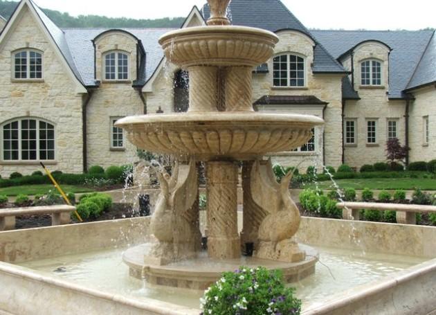 Multi Tier Marble Swan Fountain, Georgia