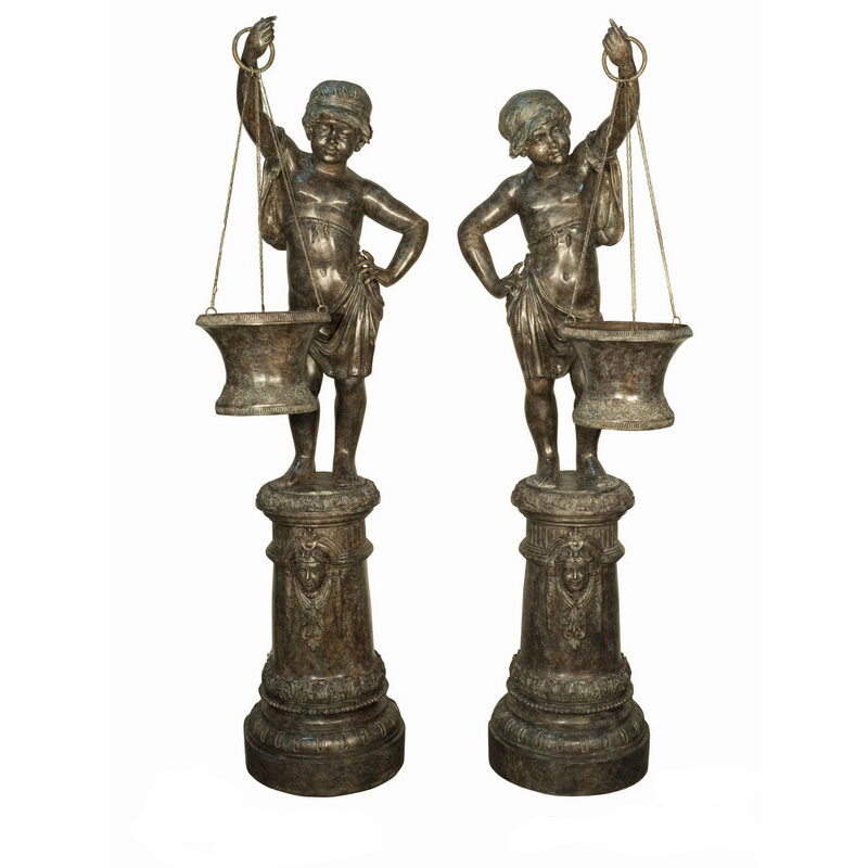SRB018118-19 Bronze Boy & Girl holding Basket Sculpture Metropolitan Galleries Inc.