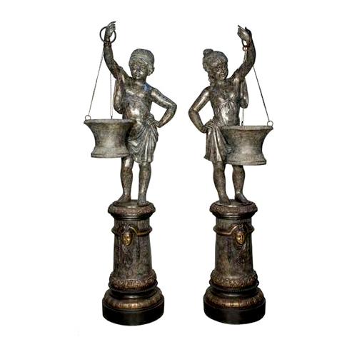 SRB018119 Bronze Girl Holding Basket Urn Sculpture