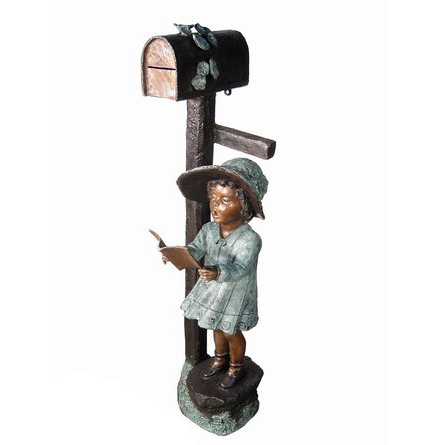 SRB029468 Bronze Girl Reading Book Mailbox Sculpture Metropolitan Galleries Inc.