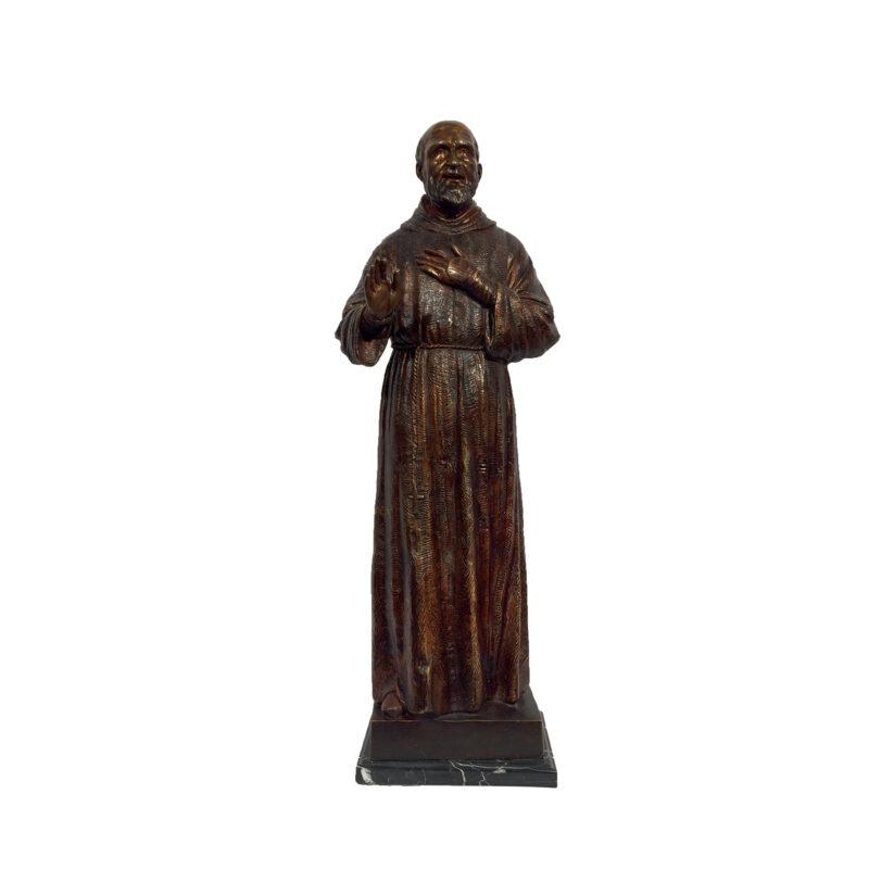 SRB029510 Bronze Saint Pio of Pietrelcina Table-top Sculpture by Metropolitan Galleries Inc