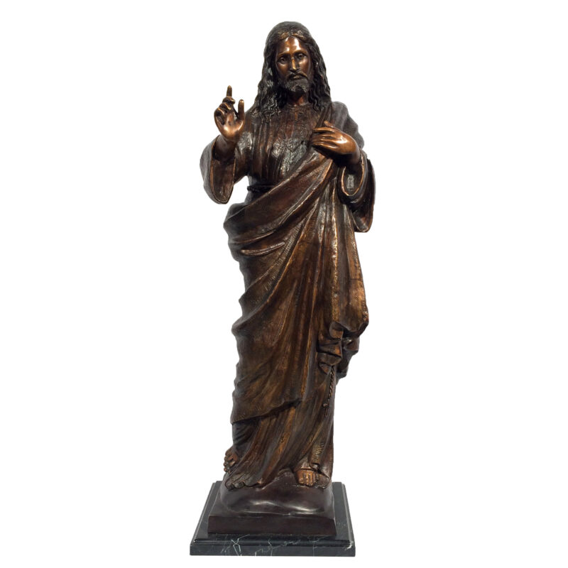 SRB029512 Bronze Jesus with Raised Hand Sculpture Metropolitan Galleries Inc.
