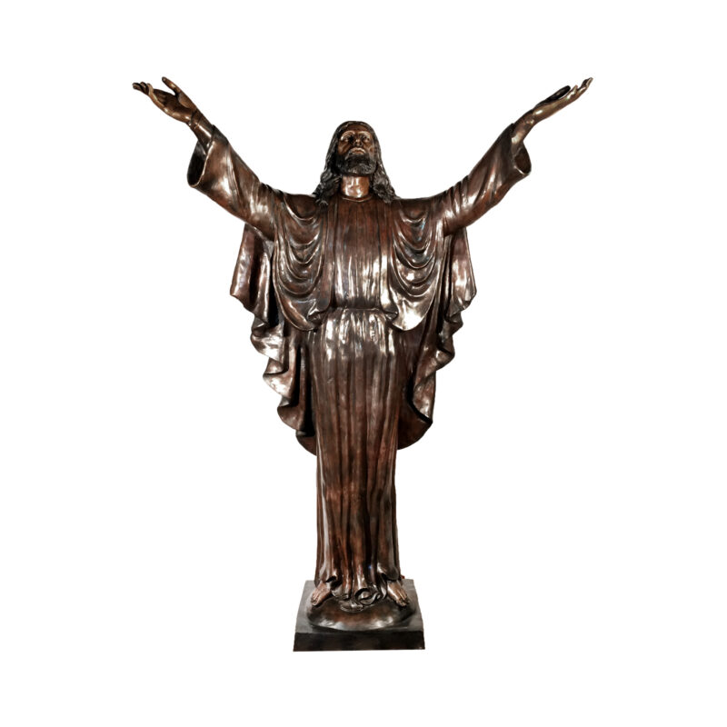 SRB052778 Bronze Life-size Jesus with Arms Open Sculpture by Metropolitan Galleries Inc