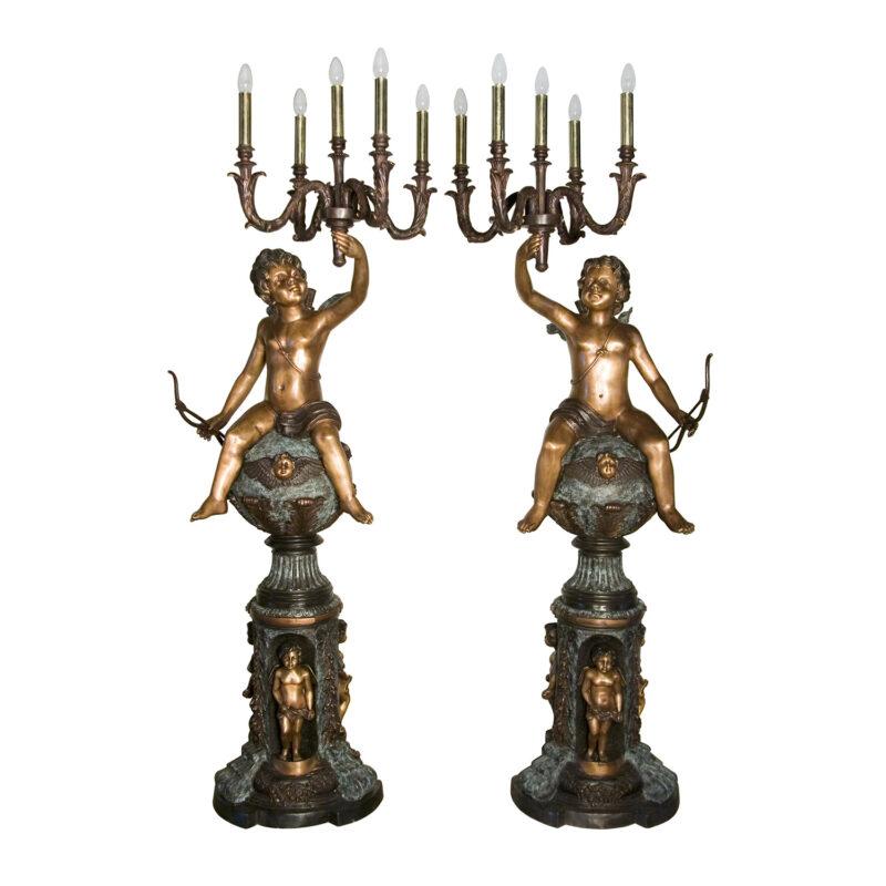 SRB057132 Bronze Cherub holding Candelabra Torchere Metropolitan Galleries Inc.