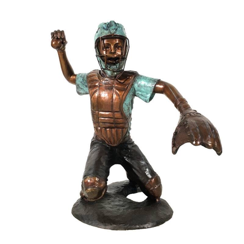 SRB094378 Bronze Baseball Player Sculpture Metropolitan Galleries Inc.