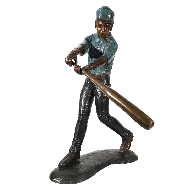 SRB094380 Bronze Baseball Batter Sculpture Metropolitan Galleries Inc.