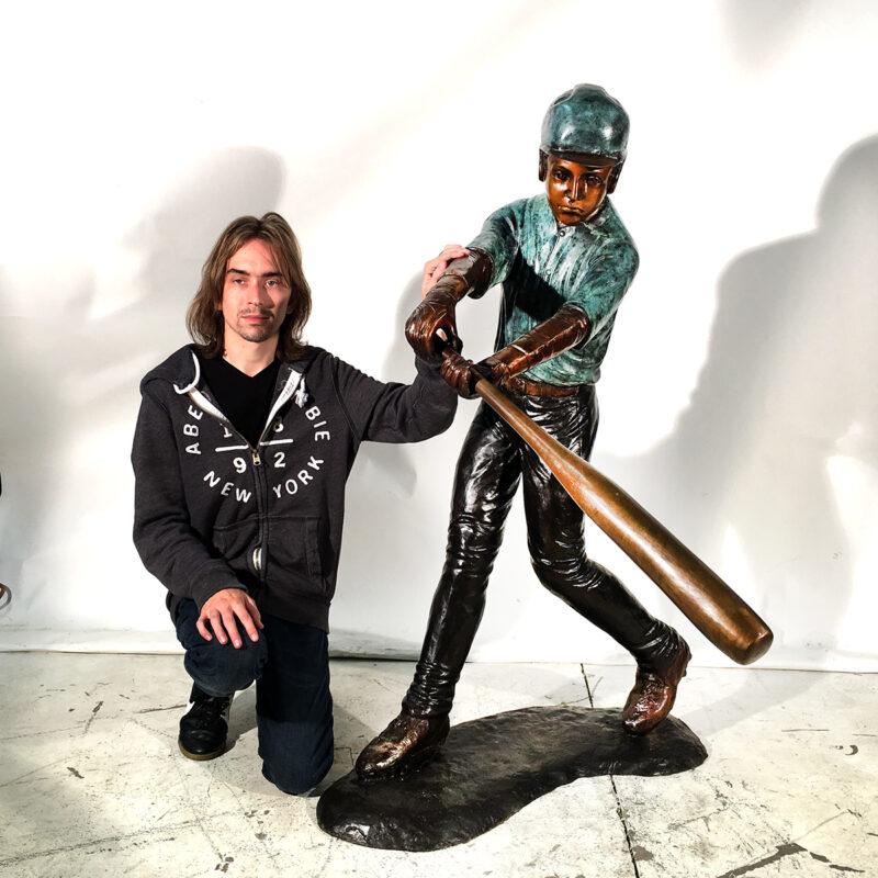 SRB094380 Bronze Baseball Batter Sculpture Metropolitan Galleries Inc.
