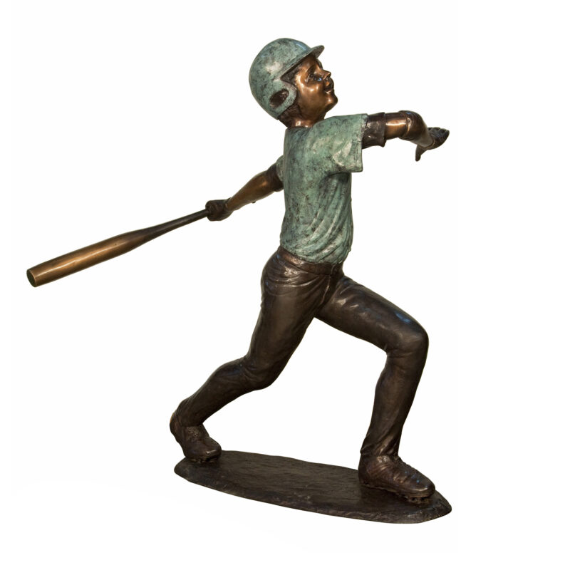 SRB094382 Bronze Boy with Baseball Bat Sculpture by Metropolitan Galleries Inc