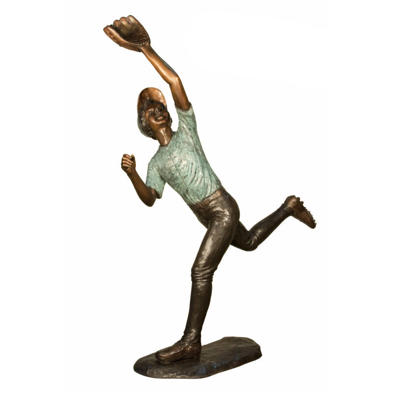 SRB094384 Bronze Baseball Catching Ball Sculpture by Metropolitan Galleries Inc