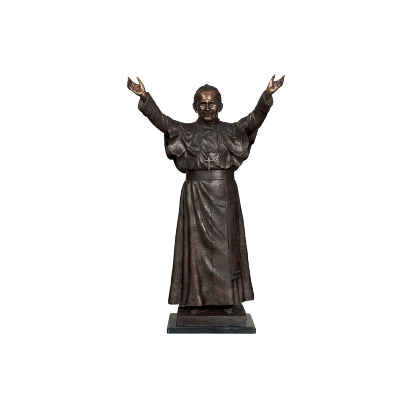 SRB095041 Bronze Pope John Paul II Table-top Sculpture by Metropolitan Galleries Inc