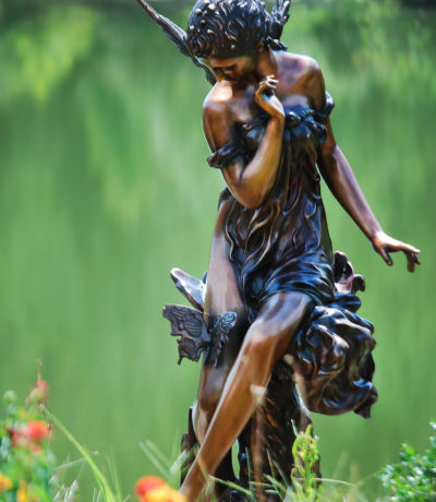 SRB15072 Bronze Butterfly Woman Fountain Sculpture Metropolitan Galleries Inc. Fairy