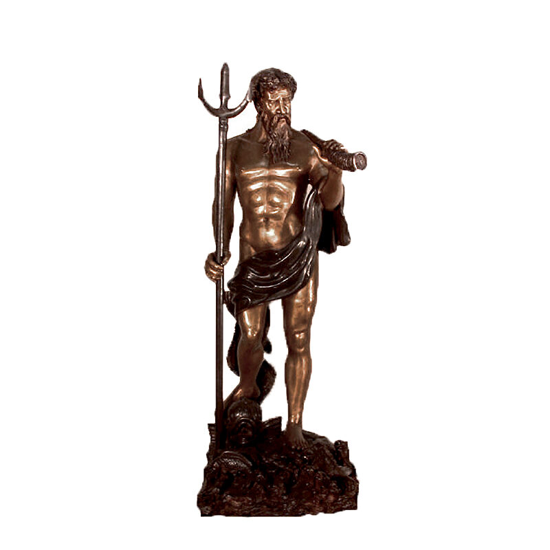 SRB15084 Bronze Standing Neptune holding Trident Sculpture by Metropolitan Galleries Inc