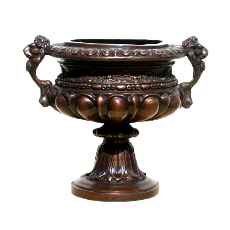 SRB20476 Bronze Lion Head Urn with Handles Metropolitan Galleries Inc.