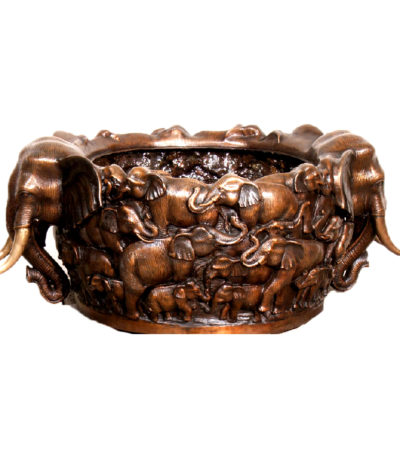 SRB25113 Bronze Elephant Bowl Urn Sculpture Metropolitan Galleries Inc.