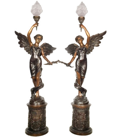 SRB25395 Bronze Angel Torchere Sculpture Set Metropolitan Galleries Inc.