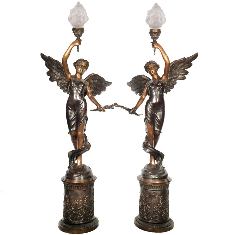 SRB25395 Bronze Angel Torchere Sculpture Set Metropolitan Galleries Inc.