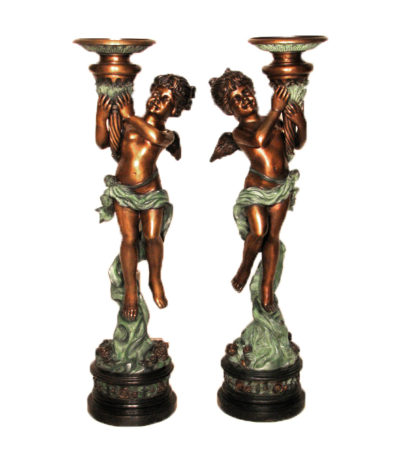 SRB25408 Bronze Girl Angel Lamp Sculpture Set Metropolitan Galleries Inc.