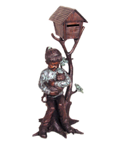 cast bronze girl and cat mailbox