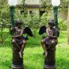 Bronze Cupid Lamp Sculpture Set