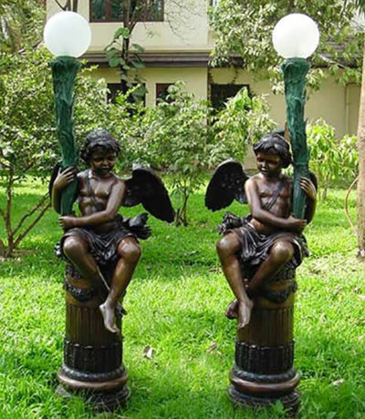 SRB41018 Bronze Cupid Lamp Sculpture Set Metropolitan Galleries Inc.
