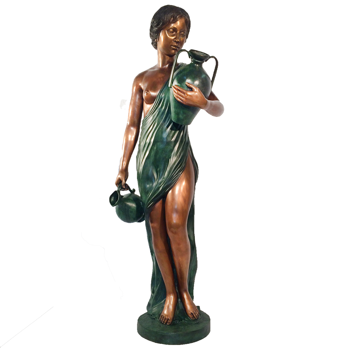SRB43172 Bronze Lady with Two Jars Fountain Sculpture Metropolitan Galleries Inc.