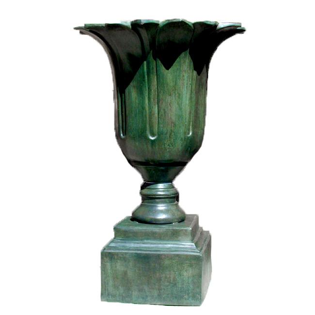 SRB43197 Bronze Flower Urn on Pedestal Metropolitan Galleries Inc.