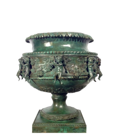SRB44388 Bronze Children Rose Vine Urn Metropolitan Galleries Inc.