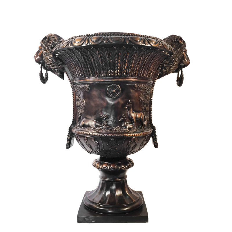 SRB45186 Bronze Lion Head Urn with Rings Metropolitan Galleries Inc.