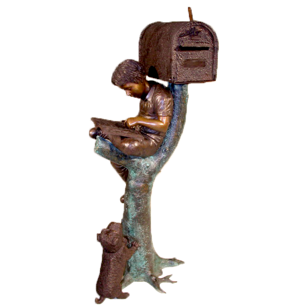 SRB45446 Bronze Boy & Puppy Mailbox Metropolitan Galleries Inc.