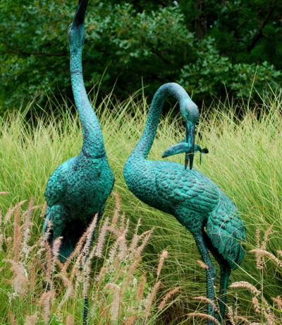 Cast Bronze Heron Fountain Pair in Verde Green Patina by Metropolitan Galleries. These heron birds feature as fountains and are cast in quality cast bronze