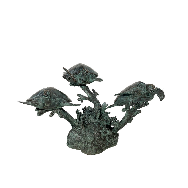 SRB45936 Bronze Sea Turtle Trio Fountain Sculpture by Metropolitan Galleries Inc