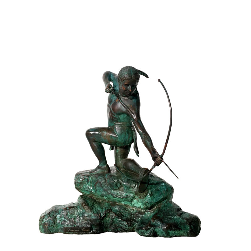 SRB46214 Bronze Indian with Arrow Sculpture Metropolitan Galleries Inc.