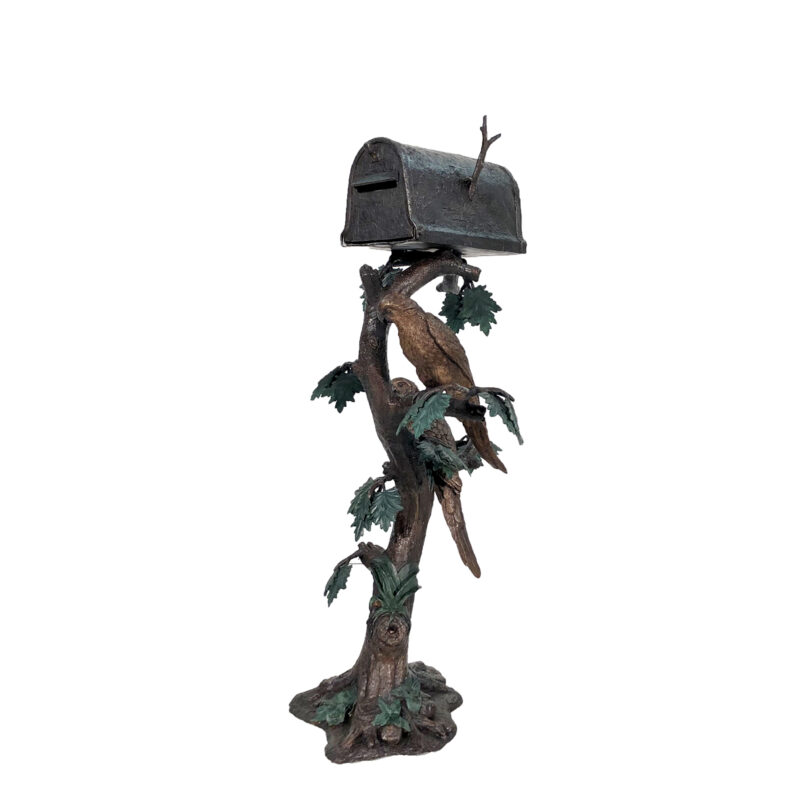 SRB47452 Bronze Parrot Mailbox Sculpture by Metropolitan Galleries Inc