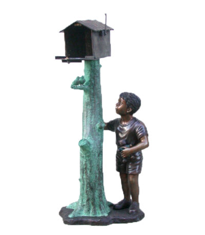 SRB47811 Bronze Boy Mailbox Sculpture Metropolitan Galleries Inc.