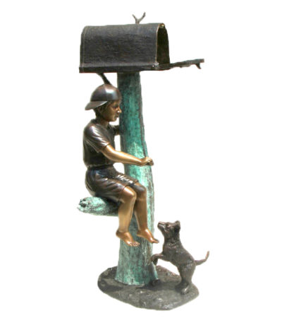 SRB48368 Bronze Boy Sitting with Dog Mailbox Metropolitan Galleries Inc.