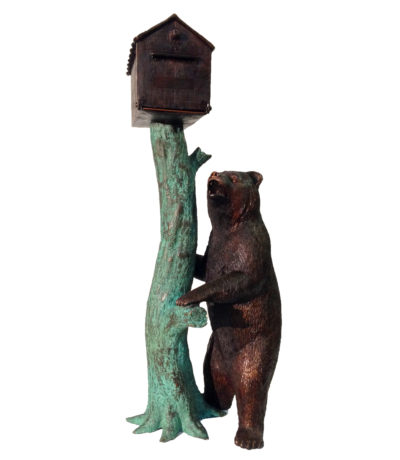 SRB48388 Bronze Bear Mailbox Sculpture Metropolitan Galleries Inc.