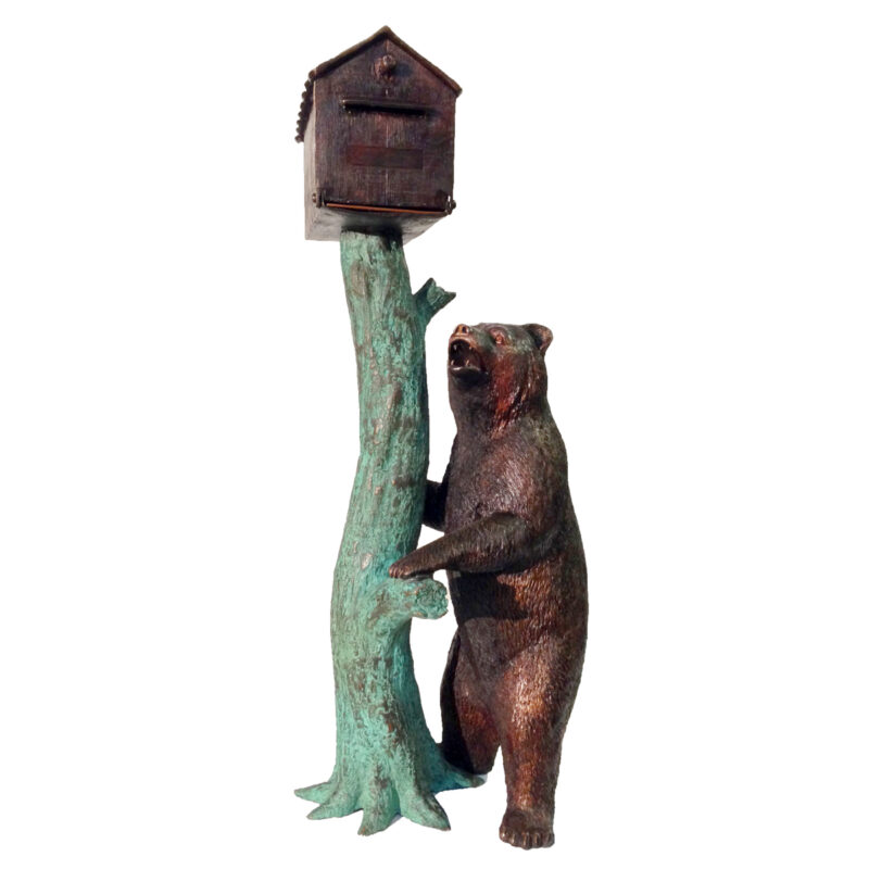 SRB48388 Bronze Bear Mailbox Sculpture by Metropolitan Galleries Inc
